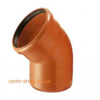 Куточок 110 мм (коліно) каналізаційний зовнішній (45 градусів)